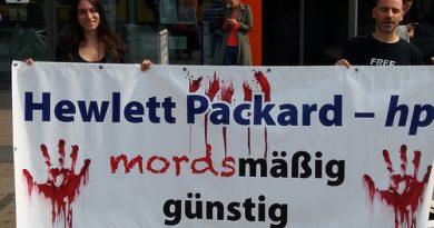 Berlin: Sa 26.08. Protestaktion gegen Hewlett Packard (HP)