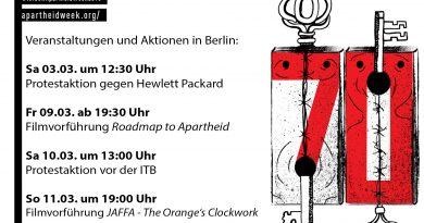Aktionen im Rahmen der 'Israeli Apartheid Week' in Berlin