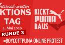 Internet-weiter Aktionstag am Montag, 4. Mai 2020 – #BoycottPUMA Online Protest