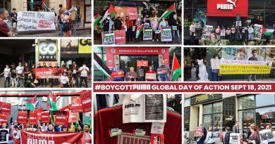 50 Städte auf sechs Kontinenten beteiligen sich am globalen  #BoycottPUMA- Aktionstag